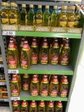 Cooking oils on shelves stock photo