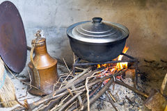 Cooking On Wood Fire Stock Photo