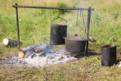 Cooking on an open fire Stock Photo