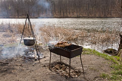 Cooking on an open fire Stock Image