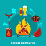 Cooking On Open Fire. Illustration with cooking on open fire with necessary objects and foods vector illustration Stock Photography
