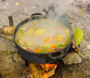 Cooking on an open fire in the tropics Royalty Free Stock Images