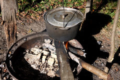 Cooking Outdoors Royalty Free Stock Images