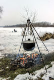 Cooking outdoors in winter Stock Image