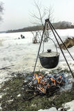 Cooking outdoors in winter Royalty Free Stock Image
