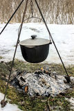 Cooking outdoors in winter Stock Photos