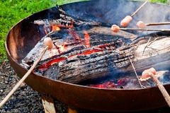 Cooking over bonfire Stock Photos