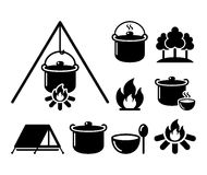 Cooking over a fire, campfire cooking, hike icons set Royalty Free Stock Image