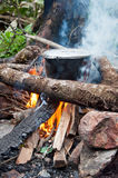 Cooking over an open fire. Dinner cooked over an open fire by local Black Khmong people on the way to Fansipan mountain - the highest peak of Vietnam Royalty Free Stock Photo