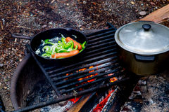 Cooking Over An Open Fire Stock Images