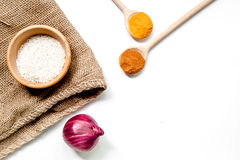 Cooking paella with rice ingredients on white desk background top view mockup Royalty Free Stock Image