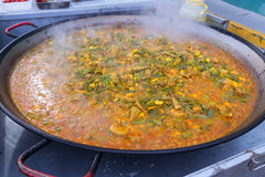 Cooking paella typical from Valencia Spain rice Stock Photo