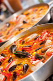 Cooking paellas Royalty Free Stock Photography