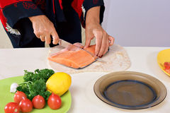 Cooking in pan Stock Photo