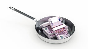 Cooking pan and full of money isolated on white Background Royalty Free Stock Photography