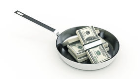 Cooking pan and full of money isolated on white Background Stock Photos