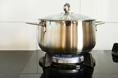 Cooking pan on gas burner Stock Photography