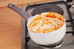 Cooking pan on the gas stove Royalty Free Stock Images
