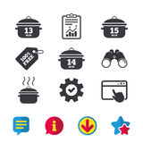 Cooking pan icons. Boil fifteen minutes. Cooking pan icons. Boil 13, 14 and 15 minutes signs. Stew food symbol. Browser window, Report and Service signs Stock Image