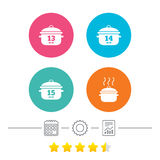 Cooking pan icons. Boil fifteen minutes. Cooking pan icons. Boil 13, 14 and 15 minutes signs. Stew food symbol. Calendar, cogwheel and report linear icons. Star Royalty Free Stock Photography