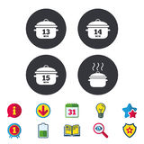Cooking pan icons. Boil fifteen minutes. Cooking pan icons. Boil 13, 14 and 15 minutes signs. Stew food symbol. Calendar, Information and Download signs. Stars Stock Image