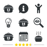 Cooking pan icons. Boil fifteen minutes. Stock Images