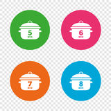 Cooking pan icons. Boil five, eight minutes. Royalty Free Stock Image