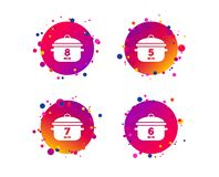Cooking pan icons. Boil five, eight minutes. Vector royalty free illustration
