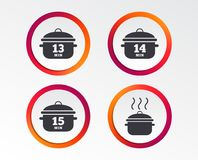 Cooking pan icons. Boil fifteen minutes. Cooking pan icons. Boil 13, 14 and 15 minutes signs. Stew food symbol. Infographic design buttons. Circle templates stock illustration