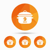 Cooking pan icons. Boil nine, twelve minutes. Cooking pan icons. Boil 9, 10, 11 and 12 minutes signs. Stew food symbol. Triangular low poly buttons with shadow Royalty Free Stock Image