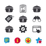 Cooking pan icons. Boil one, four minutes. Stock Photos