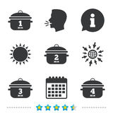 Cooking pan icons. Boil one, four minutes. Stock Photography