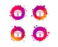 Cooking pan icons. Boil one, four minutes. Vector stock illustration