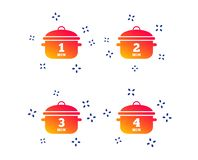 Cooking pan icons. Boil one, four minutes. Vector vector illustration