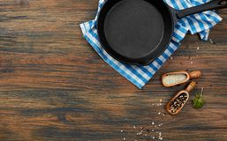 Cooking pan, salt and pepper Stock Photography