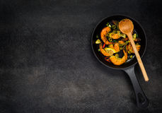 Cooking Pan with Shrimps on Copy Space Royalty Free Stock Photos