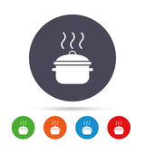 Cooking pan sign icon. Boil or stew food symbol. Royalty Free Stock Photos