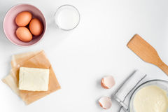 Cooking pancake on white background top view ingredients for making Stock Image