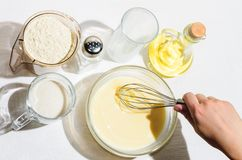 Cooking pancakes, blini royalty free stock photography