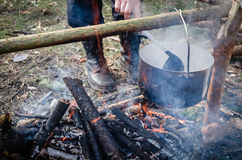 Cooking pancakes in the camp on open air Stock Photography