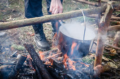 Cooking pancakes in the camp on open air Stock Photo