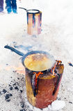 Cooking pancakes on fire Royalty Free Stock Photo