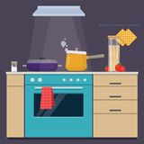 Cooking pans on the electric stove. Preparing and cooking food in the domestic environment. Flat vector illustration royalty free illustration