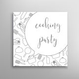 Cooking party invitation. Culinary school vector template. Cooking party invitation. Culinary school vector template Stock Photo