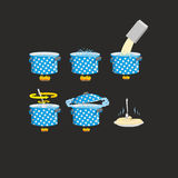 Cooking pasta icons set.  Vector illustration Stock Photos