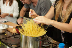 Cooking pasta on the kitchen Stock Photography