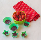 Cooking pastilles of strawberries Stock Photos
