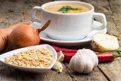Cooking of pea soup. Ingredients around Royalty Free Stock Image