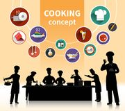 Cooking People Concept. With food ingredients and menu symbols shadow flat  vector illustration Stock Photography