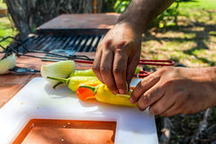 Cooking peppers and onions Royalty Free Stock Image
